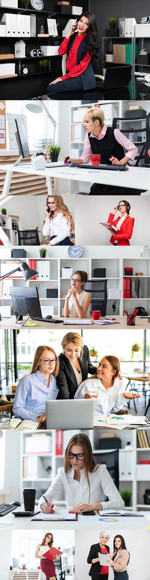 Young business girl professional employee company at desktop