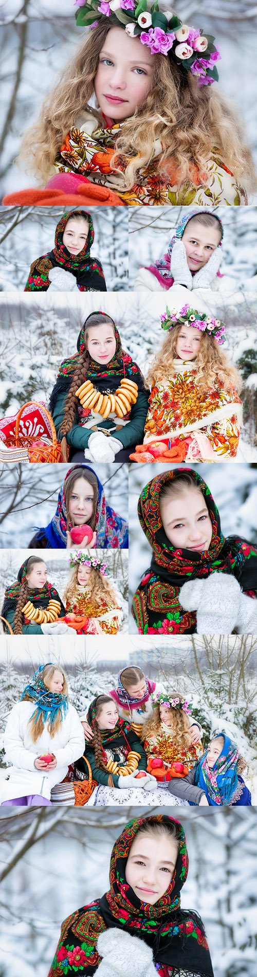 Young girls in traditional costume Russian winter