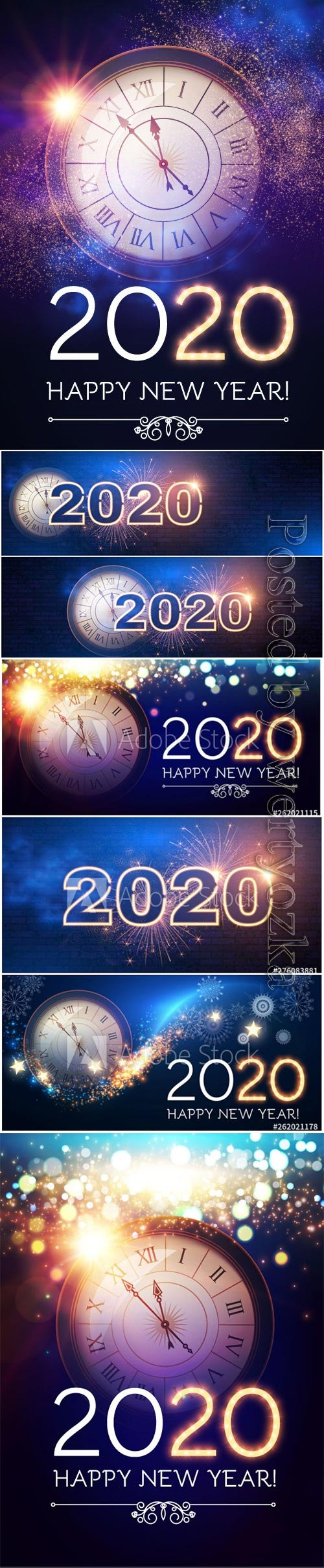 2020 Christmas and New Year vector backgrounds with clock