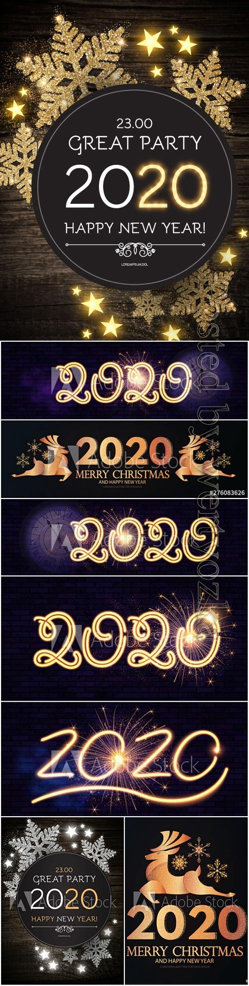2020 Christmas and New Year vector backgrounds with golden