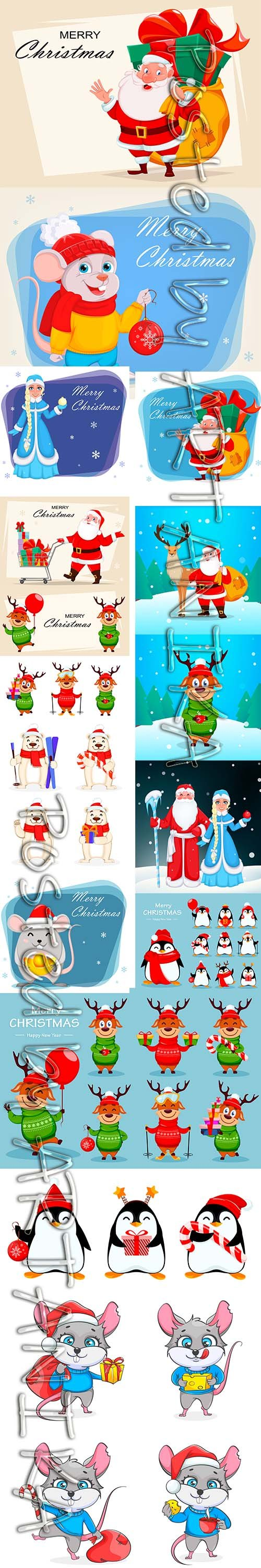 Funny Cartoon Mouse and Santa Claus Christmas Illustration Pack