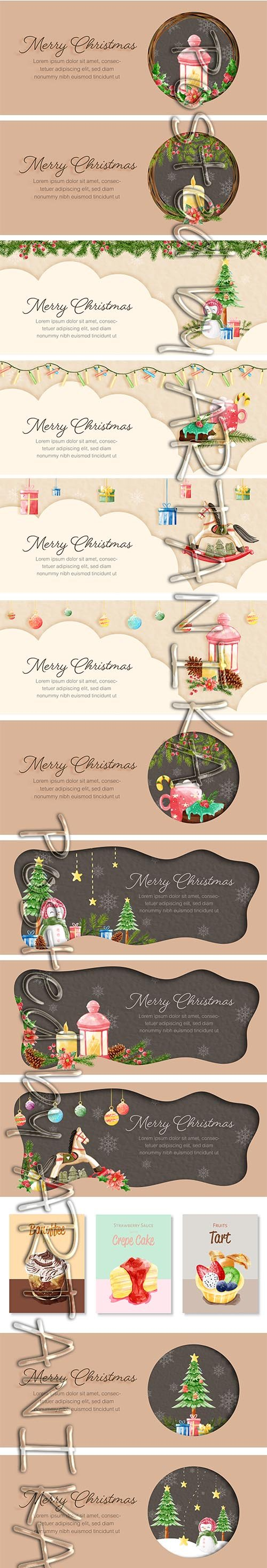 Merry Christmas Card Template Pack