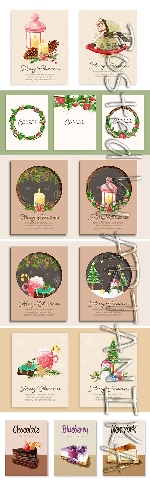 Merry Christmas Card Template Pack Vol 2