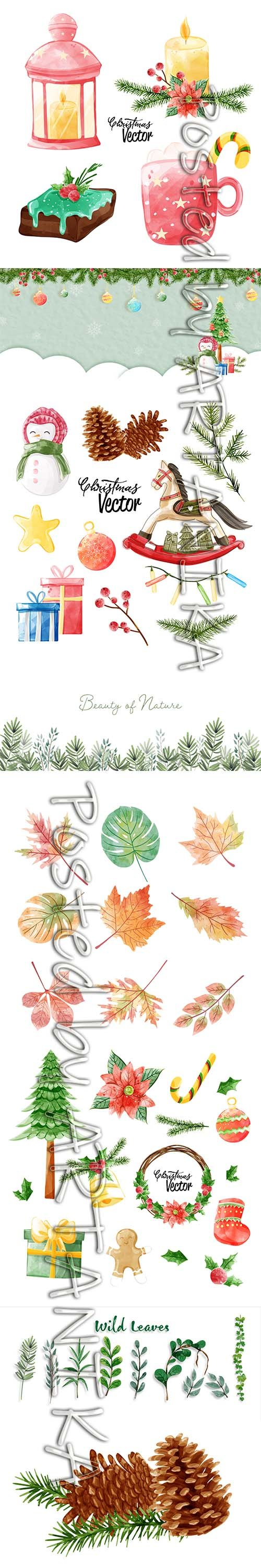 Collection of Christmas Watercolor Painting Elements