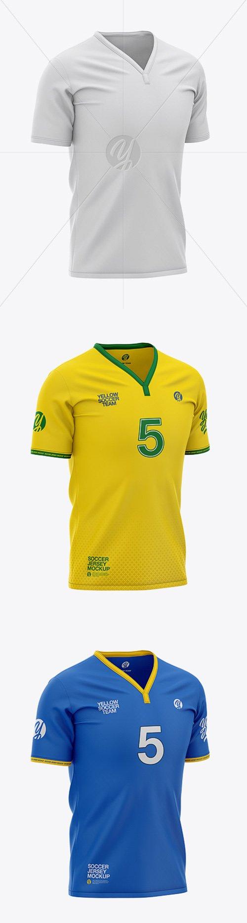 Mens Soccer Y-Neck Jersey Mockup - Front Half-Side View 37104