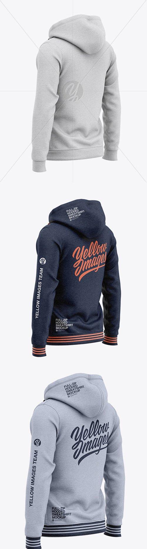 Full-Zip Heather Hooded Sweatshirt - Back Half Side View 48953