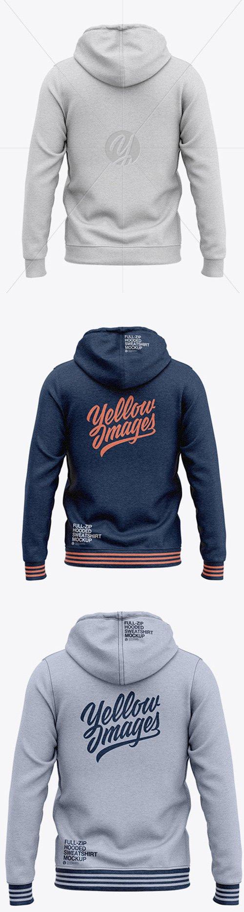 Full-Zip Heather Hooded Sweatshirt - Back View 48954