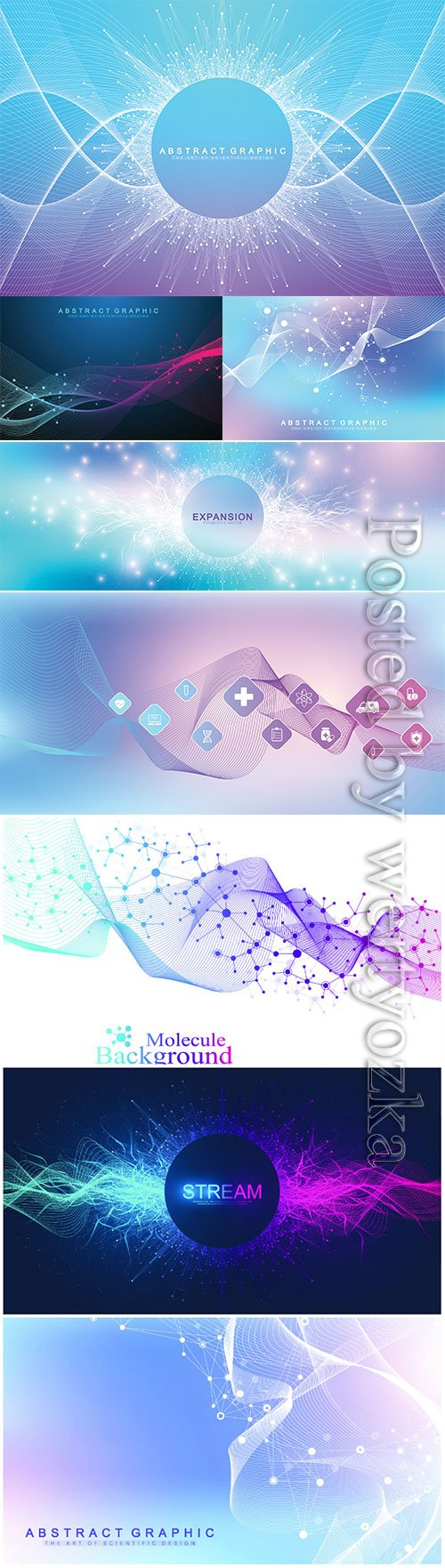 Abstract dynamic motion background with colorful particles,