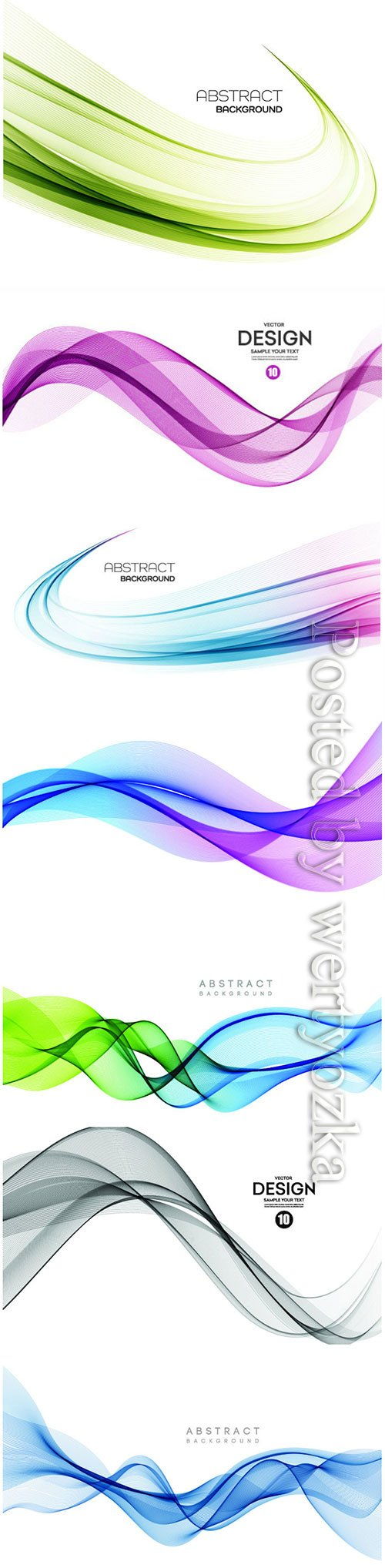 Abstract color waves on vector backgrounds