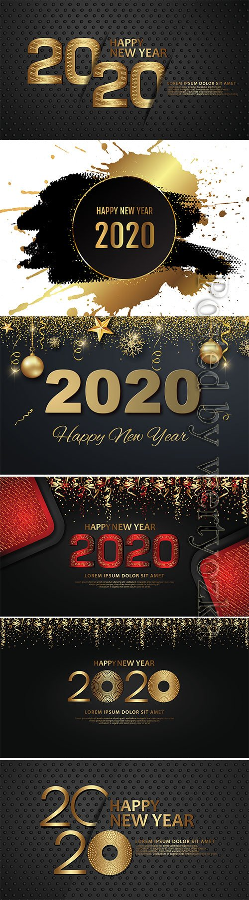 Gold Happy New Year vector background with snowflake