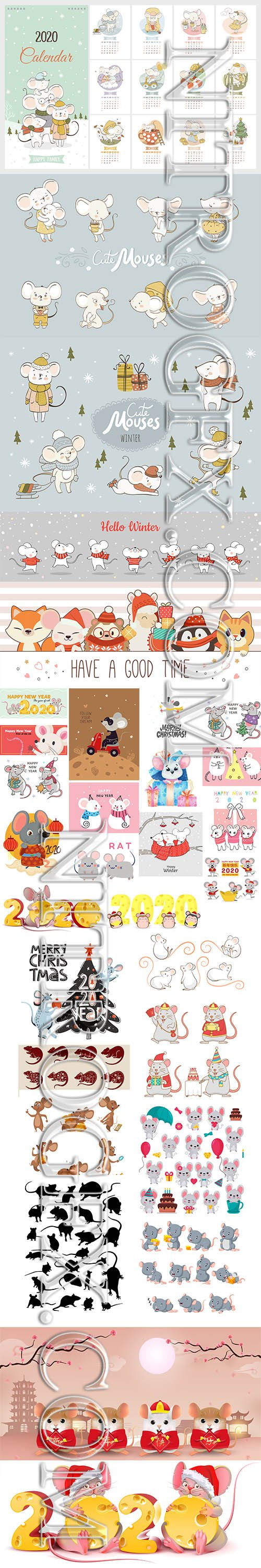 Collection of Cartoon Cute New Year Mouses Celebration with Calendar 2020