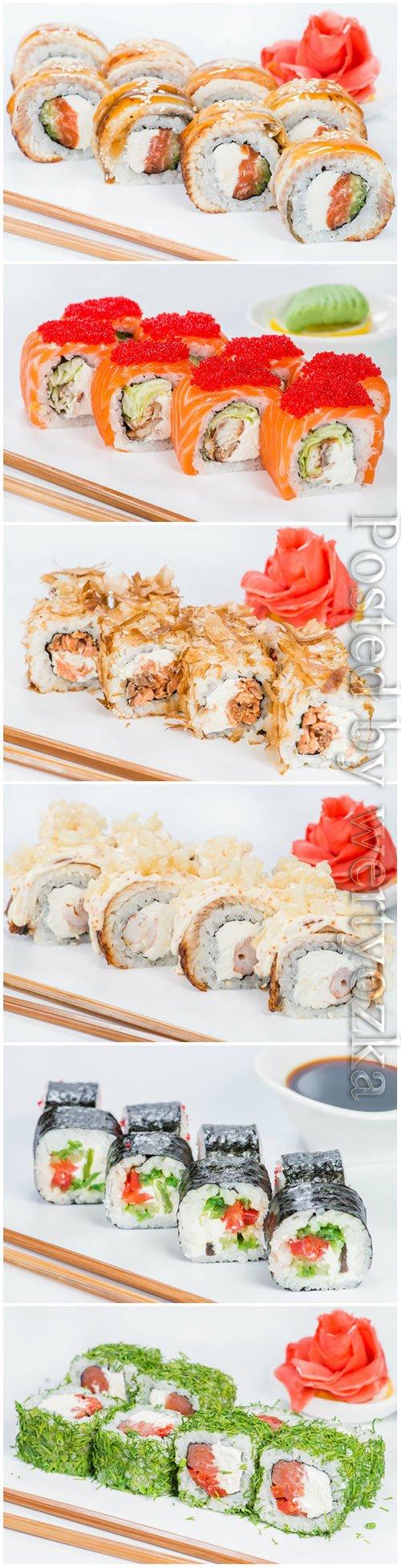 Tasty Japanese cuisine sushi rolls
