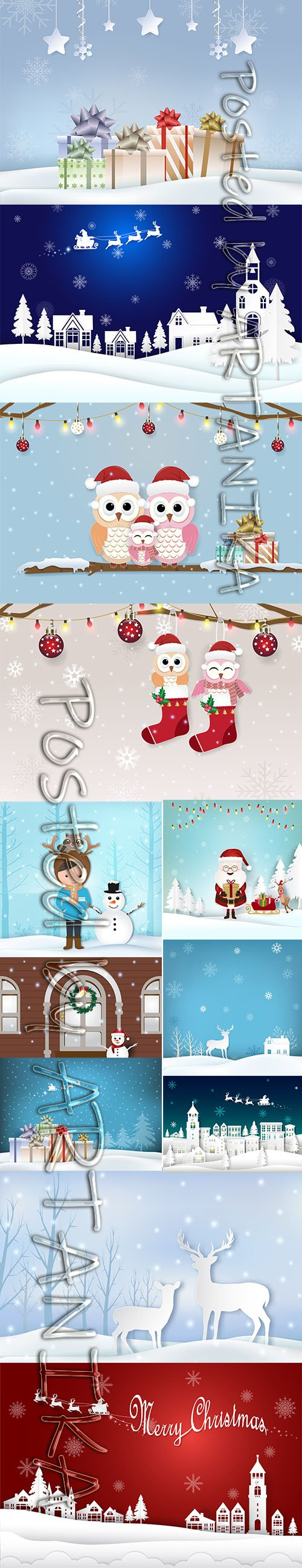 Winter Holiday City Illustration and Santas Gifts Backgrounds