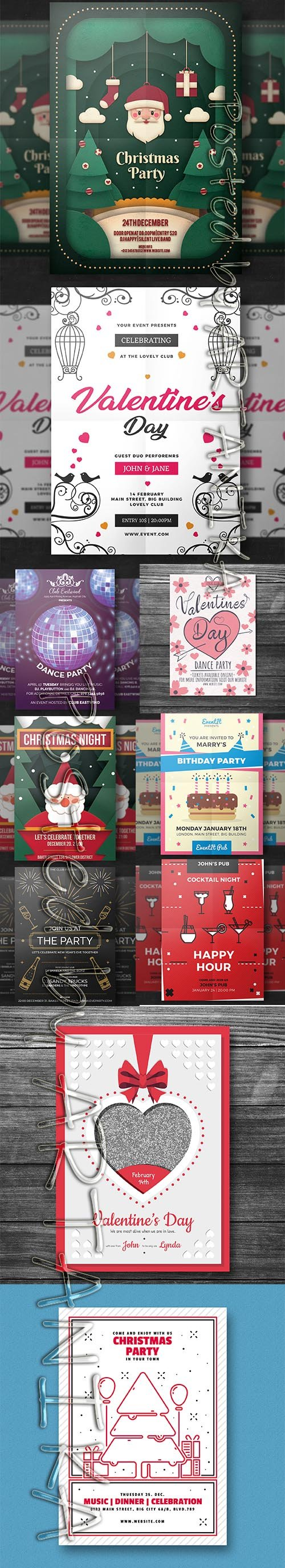 Collection of Colorful Flyer Party Templates