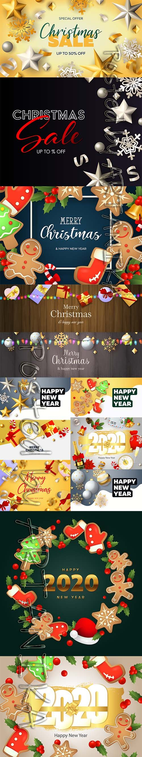 Christmas Sale Banner and Happy New Year Backgrounds Vol 2