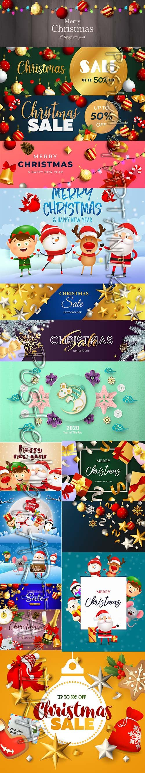 Christmas Sale Banner and Happy New Year Backgrounds