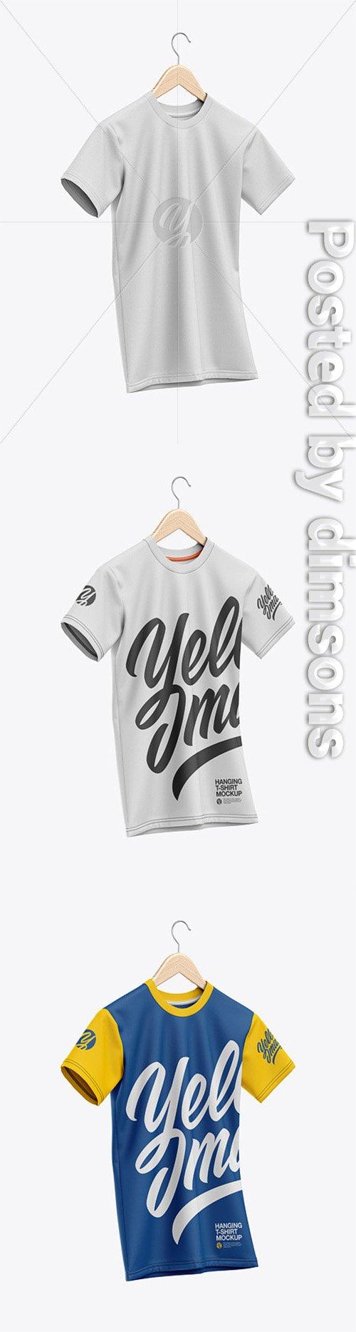T-Shirt On Hanger Mockup - Half-Side View 50127 TIF