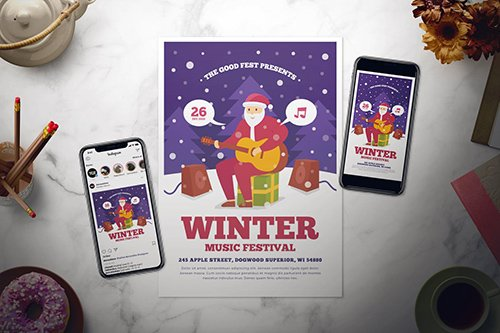 Winter Music Festival Flyer PSD