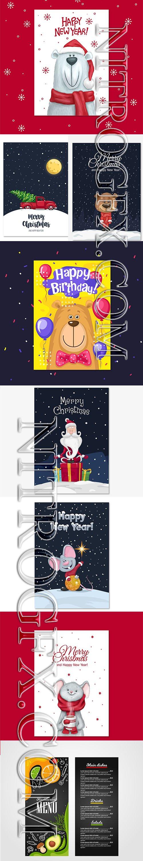 Merry Christmas Vector Card Pack 2019 + Menu Template