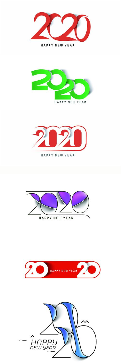 Happy New Year 2020 text design patter, vector illustration