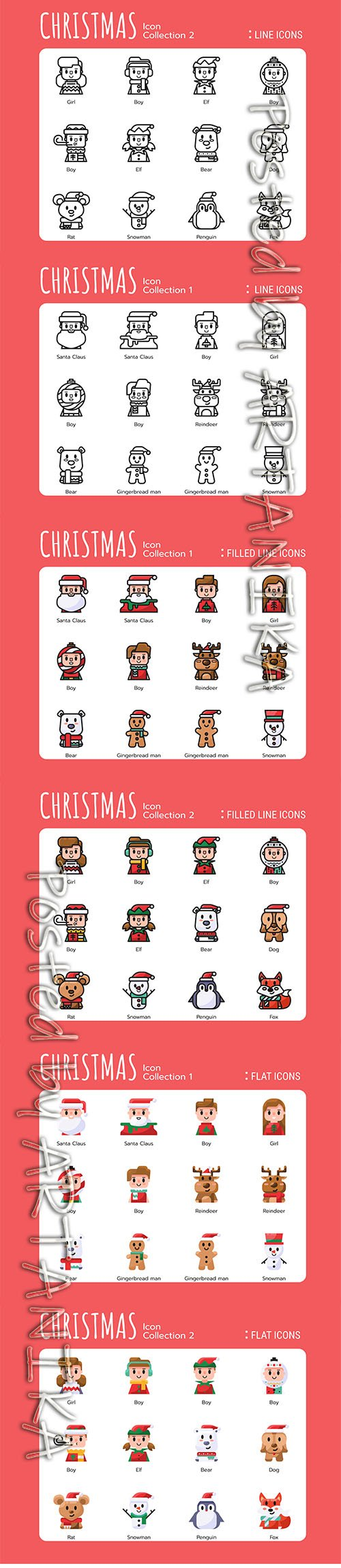 Collections of Christmas Filled Lines Icons and Lines Icons