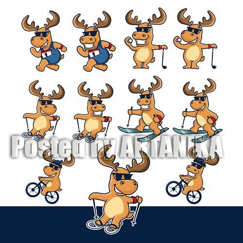 Moose Cartoon Sport Winter