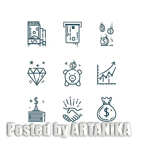 Money Finance Line Icons Set