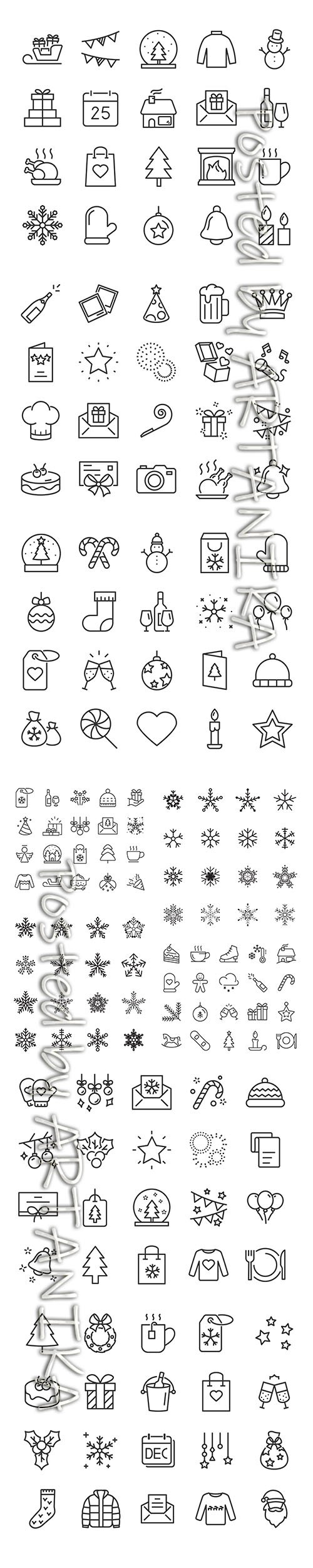 Big Set of Chistmas Winter Icons