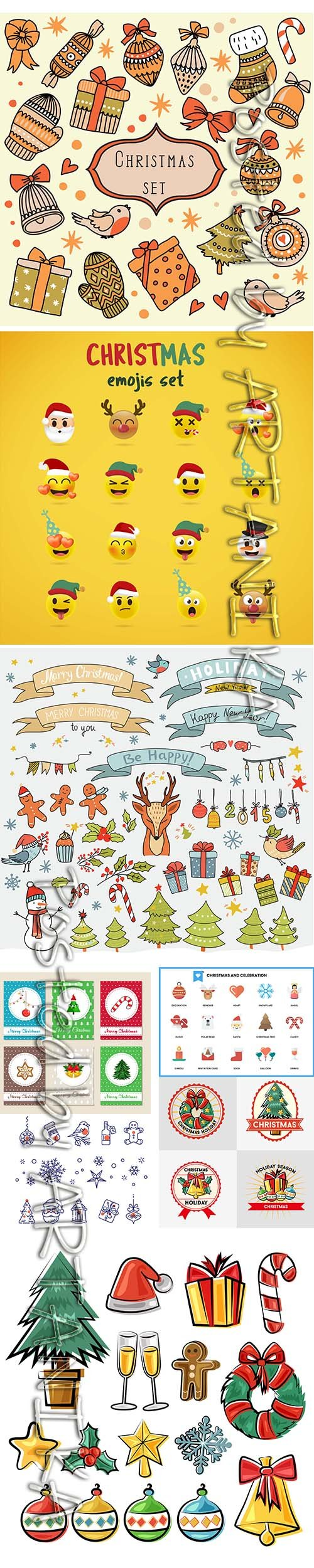 Christmas Vector Set with Different Elements