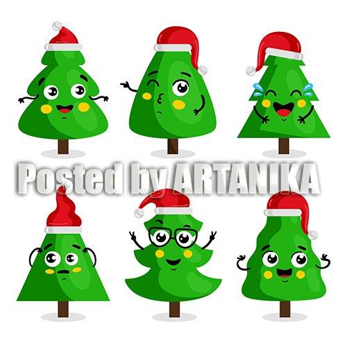 Green Christmas Tree Cartoon Character Kawaii Style