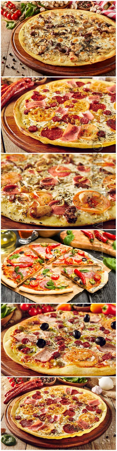 Tasty pizza on a wooden board