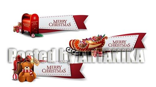 Set of Christmas Greeting Red Ribbons