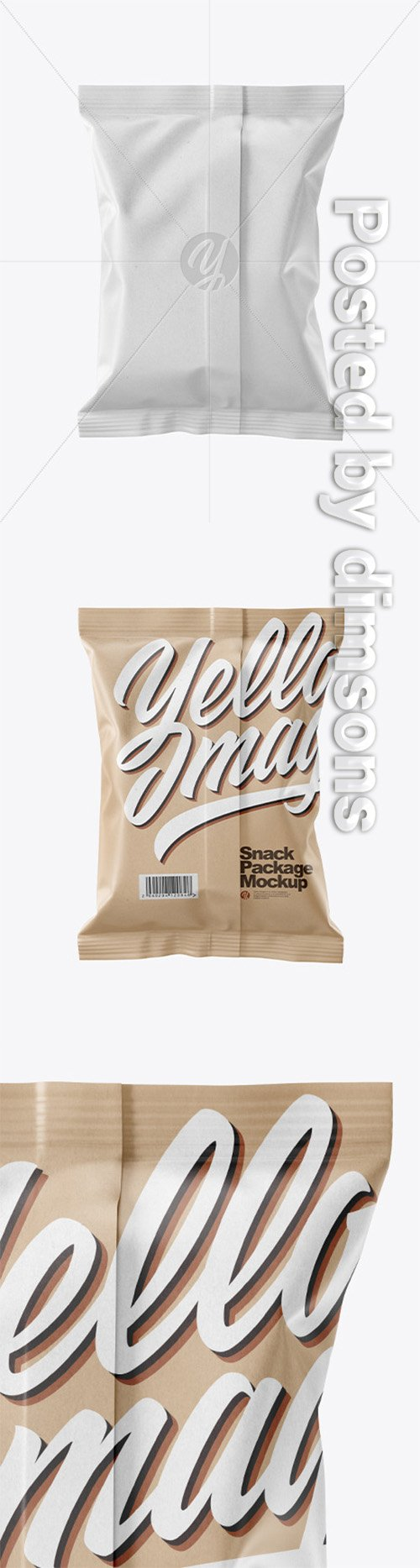 Kraft Snack Package Mockup - Back View 50536 TIF