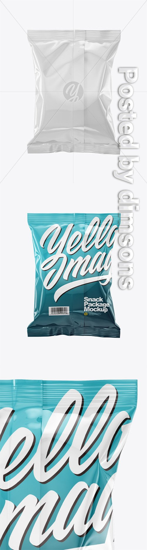 Glossy Snack Package Mockup - Back View 50530 TIF