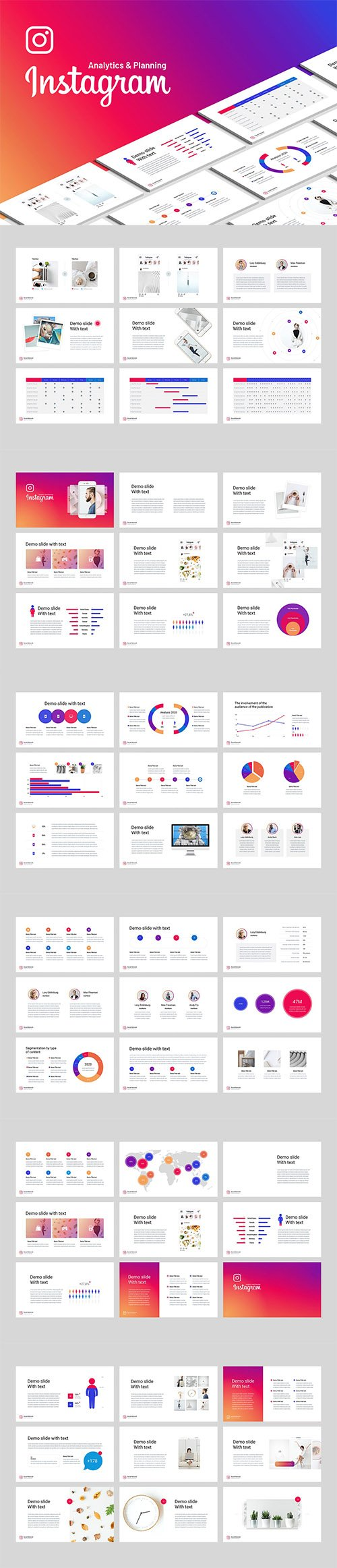 Instagram analysis PowerPoint and Keynote templates