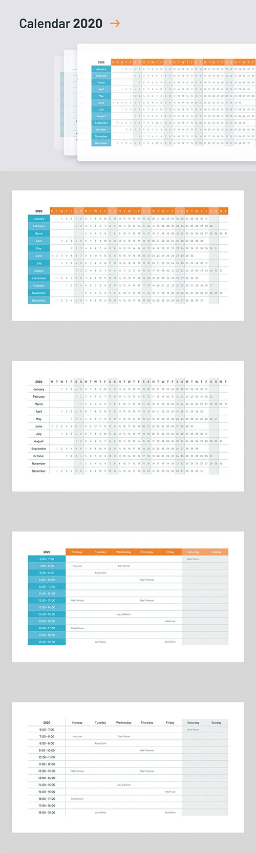 2020 Calendar template PowerPoint and Keynote