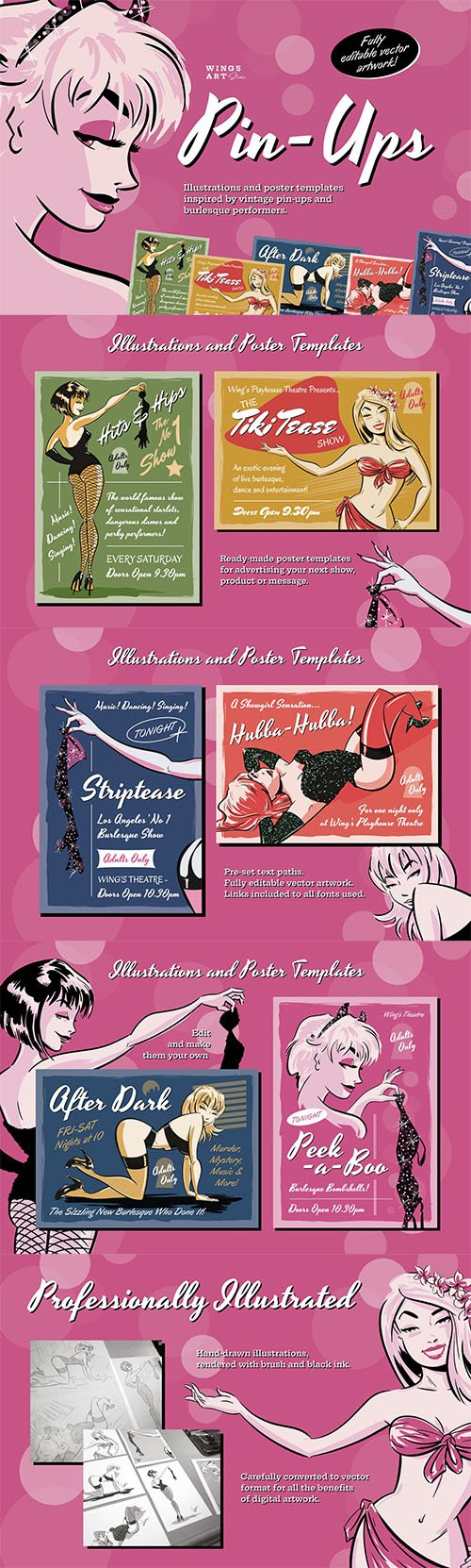 Pin-up and Burlesque Poster Illustrations