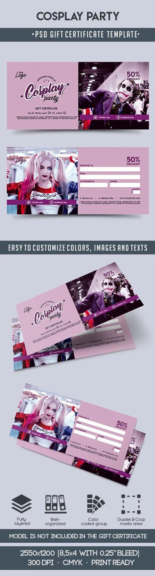 Cosplay Party - Gift Certificate PSD Template