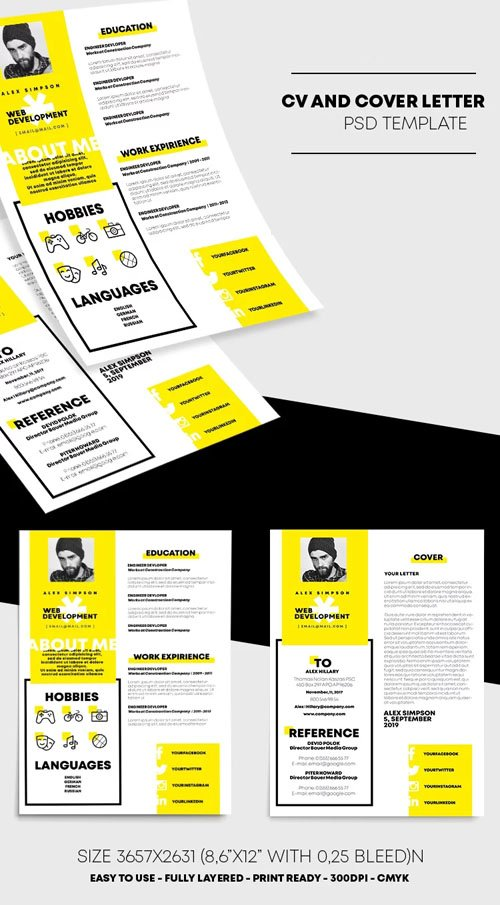 CV & Cover Letter Resume PSD Template