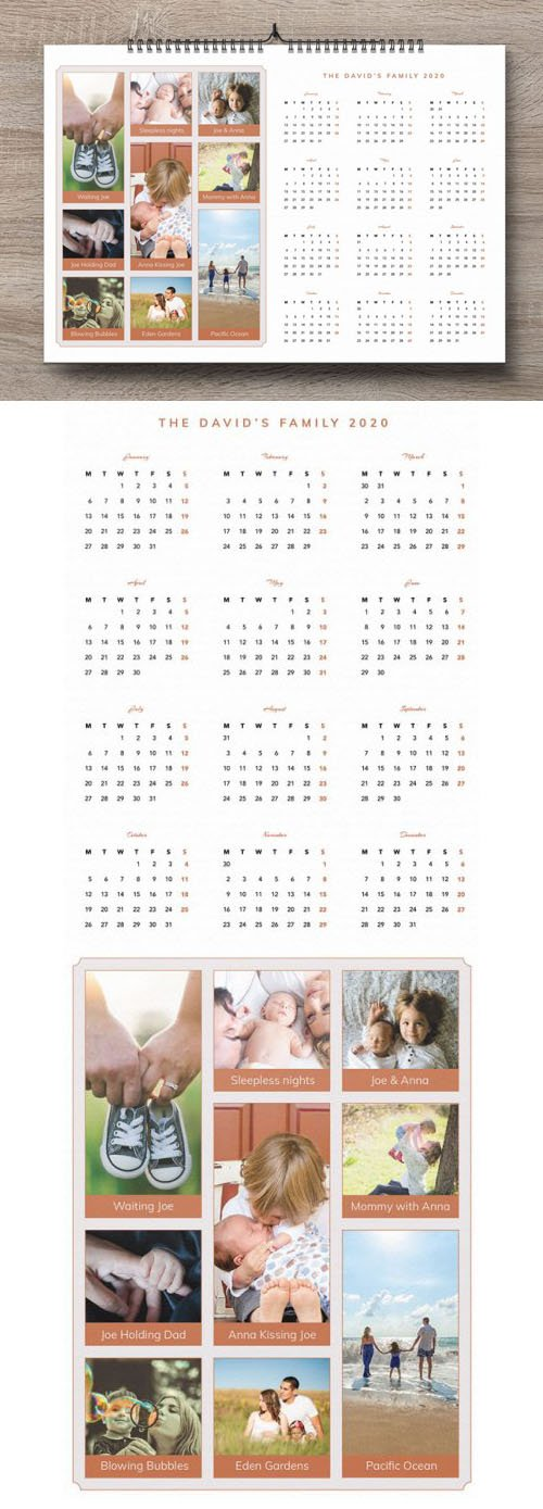 Family Pictures 2020 Calendar Design Template in [Ai/PSD]