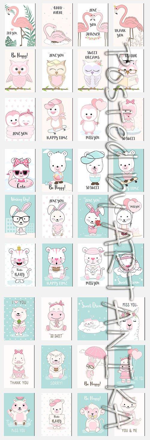 Cute Baby Animal Cartoon Card Set