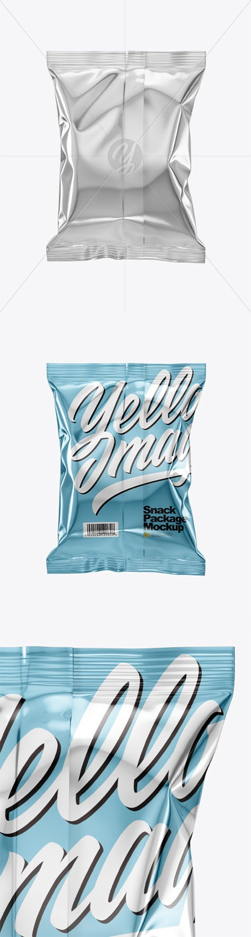 Metallic Snack Package Mockup - Back View 50597 TIF