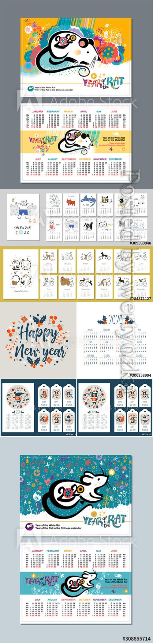 2020 calendar with the symbol of the year of the mouse
