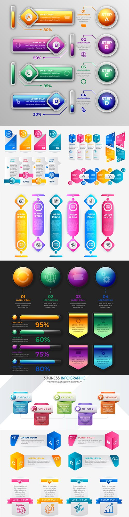 Business infographics options elements collection 119