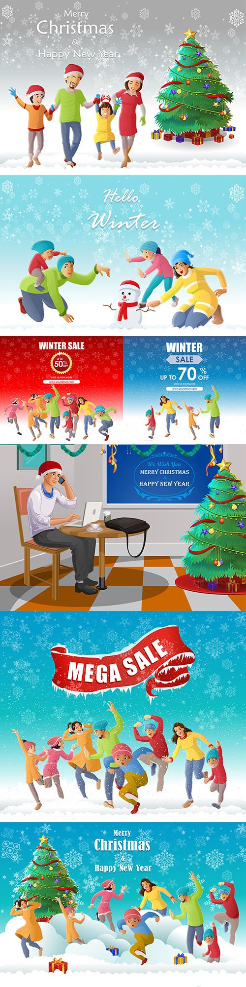 Merry Christmas happy family background illustrations 2