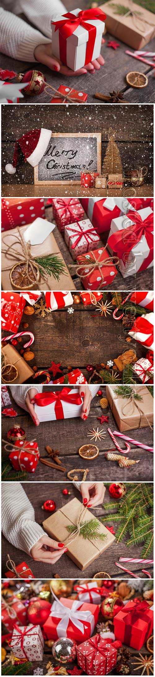 Christmas background with fir branches, candles, gifts and Christmas decorations