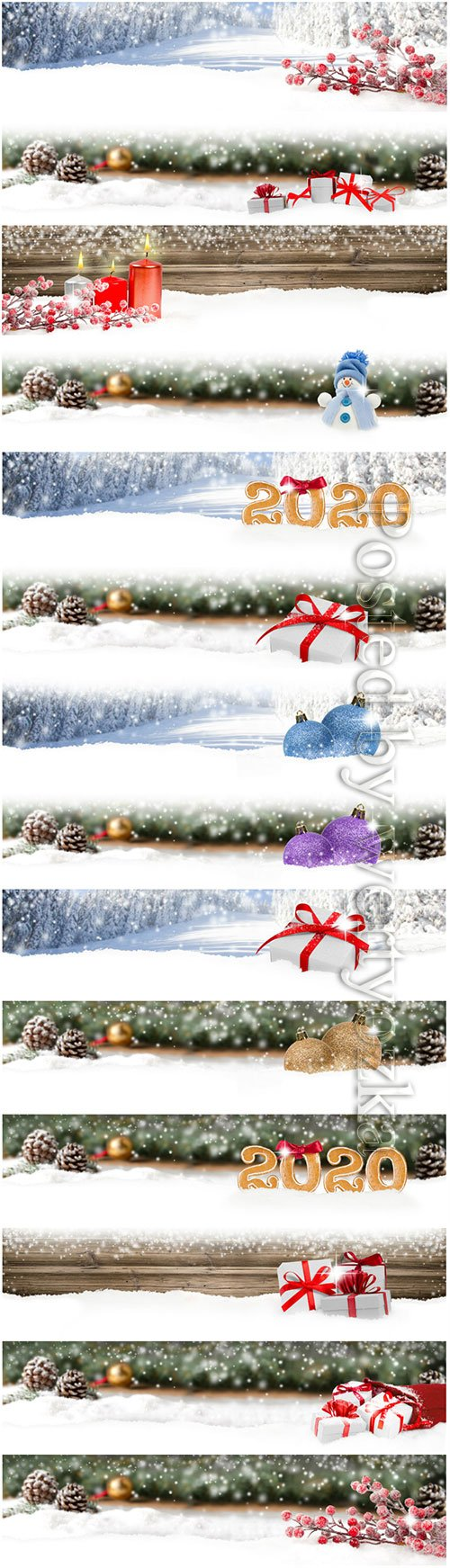 Christmas banners with fir branches, candles and Christmas decorations