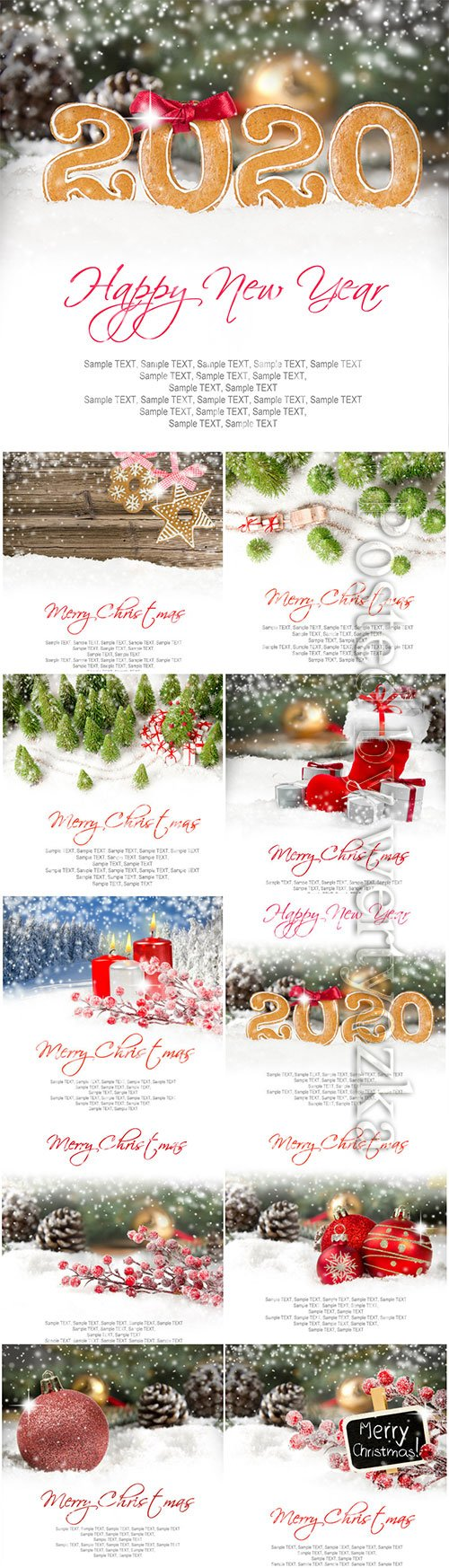 Christmas banners with fir branches, candles, gifts and Christmas decorations