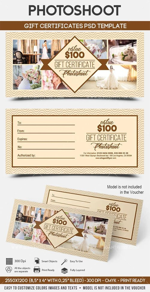 Photoshoot - Gift Certificates PSD Template