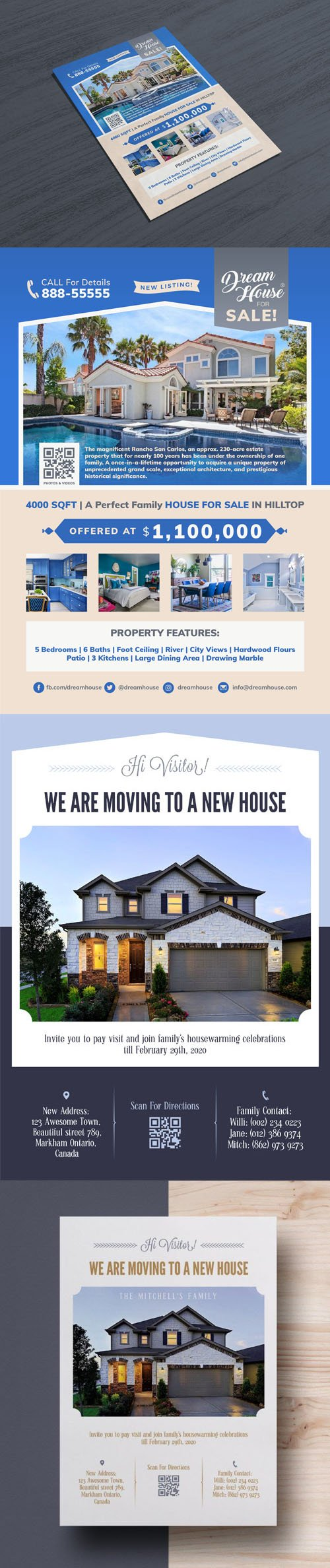 Real Estate - House for Sale & Moving Announcement Flyers Templates